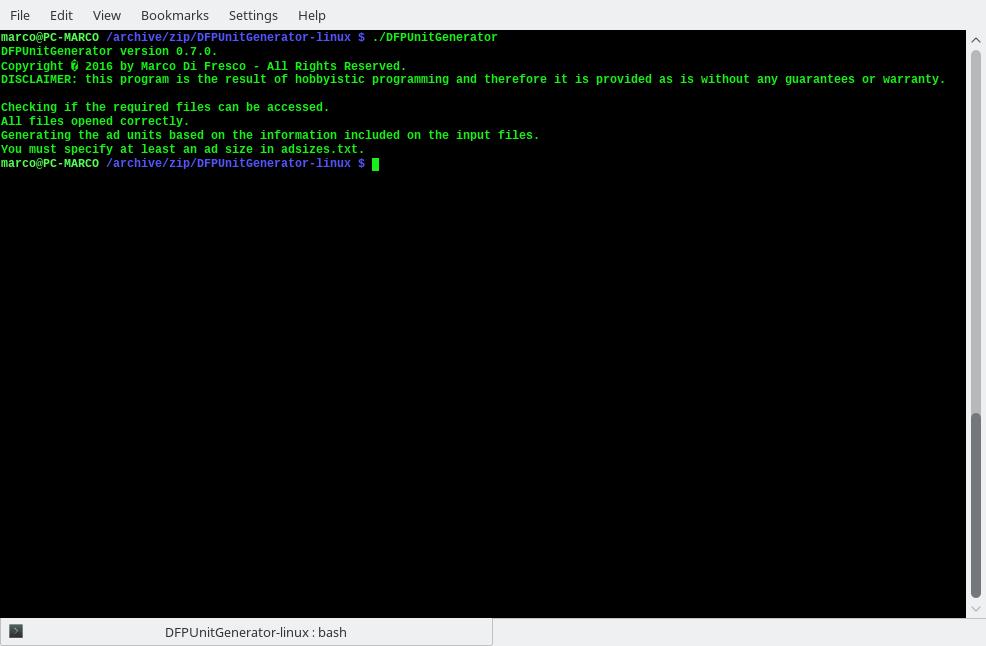 Screenshot of DFPUnitGenerator - generator of ad units for Google DoubleClick for Publishers (DFP)