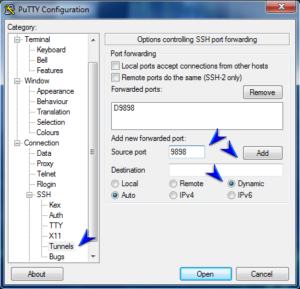 Putty - Proxy Settings 2
